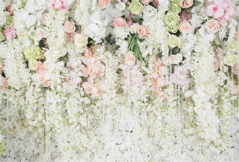 Fabric Floral Backdrop White Pink Flowers